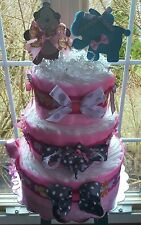Pink Gray Animal Theme 3 Tier Diaper Cake -Made To Order