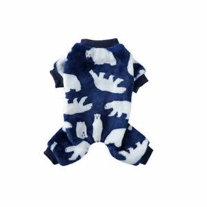 Small Pet Dog Jumpsuit Pajamas Warm Plush Cute Clothes Puppy Cat Coat Homewear