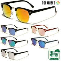 Polarised Sunglasses - Vintage / Retro Half Rimmed Frame- Polarized Mirror Lens