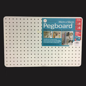 Peg Board with 12 Hooks - White - 56x36cm