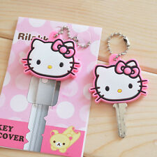 Pink Hello Kitty Key Cap Cover Key Chain kids best birthday Xmas gift handmade A