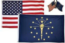 Wholesale Combo Usa & State of Indiana 3x5 3'x5' Flag & Friendship Lapel Pin