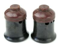 2 Antique AW Lamp Light Socket Bakelite - Steampunk Lighting Fixture Vintage old