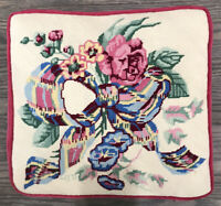 Beautiful Vintage Handmade Needlepoint Pillow / Seat Cushion * Bow  & Flowers *