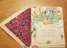 """Antique Vintage Christmas card for Mother-in-law Unused NOS 1920s 4.5""""x5.5"""""""