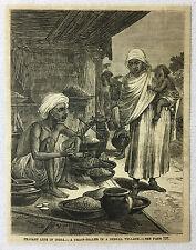 1882 magazine engraving ~ GRAIN SELLER IN BENGAL VILLAGE, India