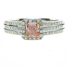 Fine 0.95ct Natural Fancy Pink Diamonds Engagement Ring Band 18K Solid Gold