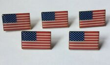Lot of 5 AMERICAN FLAG LAPEL PIN *MADE IN USA* Hat Tie Tack Badge Pinback Vest