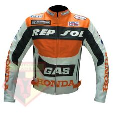 HONDA GAS REPSOL ORANGE MOTORCYCLE MOTORBIKE COWHIDE LEATHER ARMOURED JACKET