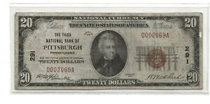 1929 $20.00 Bank Note The Third National Bank of PITTSBURG Pennsylvania.