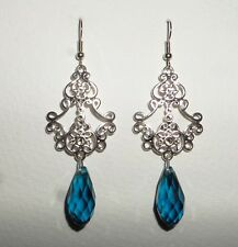 LONG FILIGREE VICTORIAN STYL SILVER PL PEACOCK BLUE BRIOLETTE DROP EARRINGS Hook