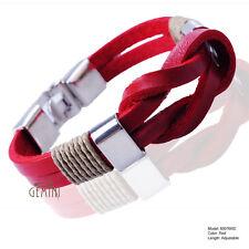 Mens Fawn Knot Infinity Genuine Leather Wristband Cuff Bracelet USGM076FW
