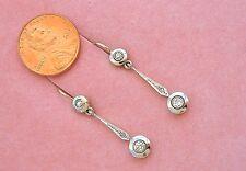 ANTIQUE ART DECO .30ctw DIAMOND DOUBLE HALO SMALL DANGLE WIRE EARRINGS 1930