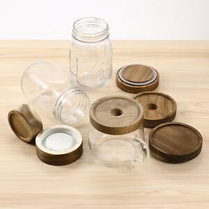 4Pcs Wooden Mason Jars Sealed Jar Lids Bamboo Round Wide Mouth Lids Cover New
