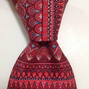 HERMES 7721 OA Men's 100% Silk Necktie FRANCE Luxury Geometric Red/Pink/Blue EUC