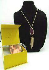 """Kendra Scott Deep Purple Fashion Gold Necklace Tassel 19"""" - 21"""" NIB (W1)"""