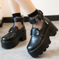 Women's Punk Gothic Chunky Heel Platform Creeper Lolita Ankle Strap Shoes Pumps