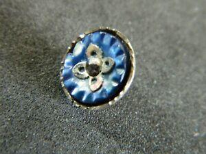 Antique Button Super Well Made Steel Cup w Carved MOP w Watch Wheel w Cut Steel