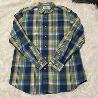 Nautica Mens Size Large Blue Yellow Plaid Long Sleeve Button Down Shirt EUC