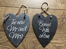 Large Wedding Sign Mr & Mrs Slate Heart Rustic Wedding Set Of 2