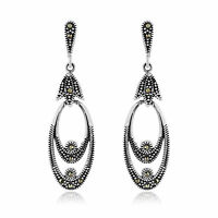 Ladies Oval Sterling Silver Stud Earrings set with Marcasite