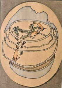 "Carol Sklar Print of a Colored Pencil Drawing  ""Fishbowl"""