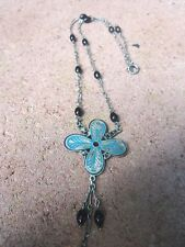 ART DECO STERLING ENAMEL NECKLACE WITH ONYX BEADS...