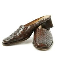 SESTO MEUCCI Women Brown Woven Leather Slip On Slide Shoes Italy Size 7