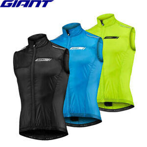 Giant Superlight Mens Cycling Wind Vest - Black / Yellow / Blue
