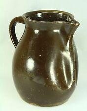 "!Antique 1800's Brown Glaze Stoneware Large Pitcher Ewer 12"" Earthenware Jug"