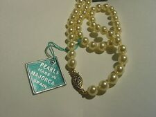 2 VINTAGE NOS 6mm Mallorca Pearl Necklace TAG Majorca Spain A+ Gold Fill Clasp