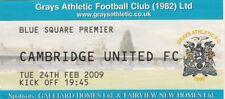 Ticket - Grays Athletic v Cambridge United 24.02.09