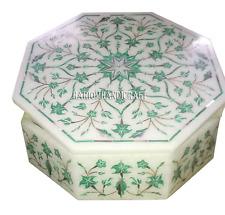 "5""x5"" Marble Jewelry Storage Box Real Malachite Inlay Work Handicraft Deco H2621"