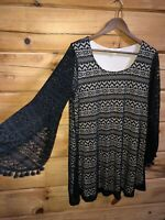 Umgee Women's Size M Boho Hippie Crochet Bell Sleeves Lined Dress EUC