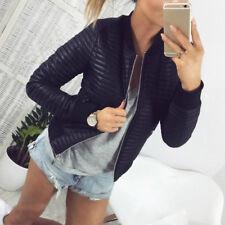 Winter Women Coat Jacket Tops Imitation Leather Overcoat Warm Zip Outwear Fall
