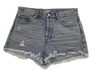 Ghanda Distressed Denim High Waist Cutoff Raw Hem Shorts Size 10