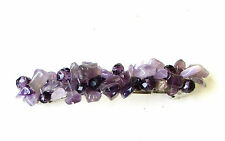 Purple Amethyst Stone Barrette Hair Clip Silver Druzy Natural Chip Boho 2024