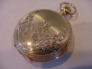 MINT 1898 WALTHAM 14K SOLID GOLD HUNTING FANCY DIAL POCKET WATCH!