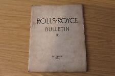ROLLS Royce BOLLETTINO DICEMBRE 1954 ROLLS ROYCE auto & Aircraft FACTORY LIBRO