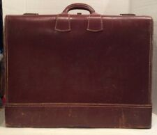 Antique Vintage H&M Genuine Cowhide Leather Suitcase Briefcase Decor Luggage