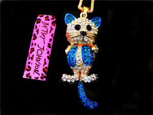 Betsey Johnson fashion jewelry Cute Blue Cat Crystal pendant necklace