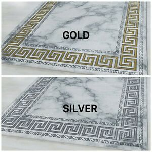 NAXOS MARBLE-LIKE HISTORIC BORDERED DESIGN GOLD SILVER ON WHITE QUALITY RUG