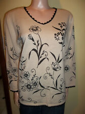 HEARTS OF PALM V NECK LONG SLEEVE FLORAL SWEATER MEDIUM NEW