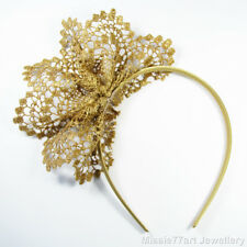 Gold Fascinator Neisha Lace Flower Crown Races Headpiece Racing Headband