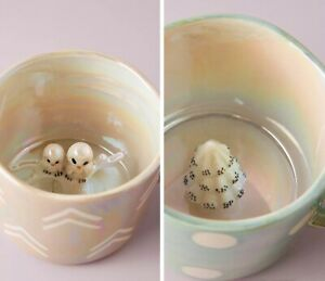 NEW 2 ANTHROPOLOGIE SNOWBOUND FIGURINE TREE & SNOWY OWL DOTTED LUSTERED MUG CUP