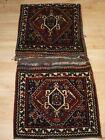 Antique Complete Qashqai Khorjin Saddle Bags with Plain Weave Back Circa 1900/20