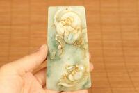 Rare Collectible Chinese Handwork Natural Green Jadeite Jade bird Pendant