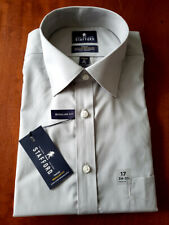 NWT $60 Stafford Gray Double Stripe Long Sleeve Dress Shirt TALL 18-36//37