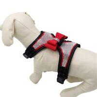 Pet Dog Rhinestone Bling Harness Puppy Adjustable Reflective Collar Bowknot Vest