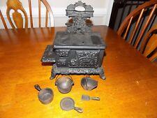 Antique Kenton Royal salesman sample cast iron wood stove w/ pots pans & scuttle